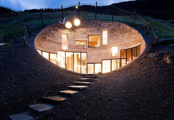 Underground house in swiss mountains